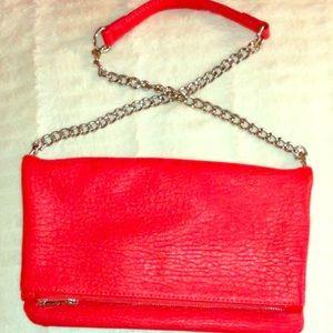 Red Faux Leather Shoulder Bag